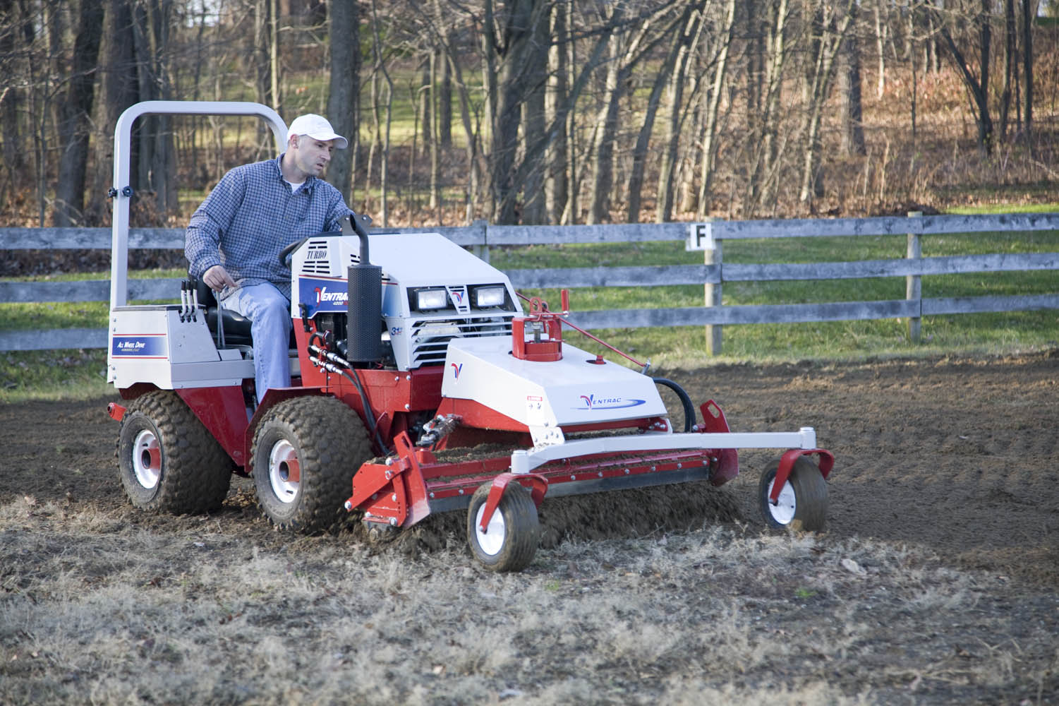 Ventrac Power Rake attachment and Tractor