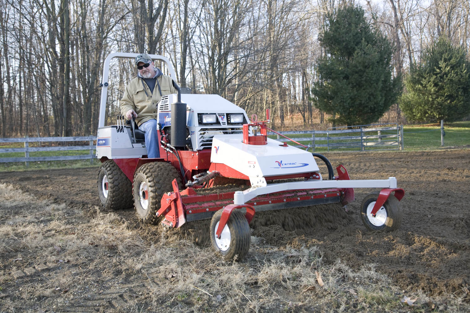 Power Rake attachment and Ventrac Tractor