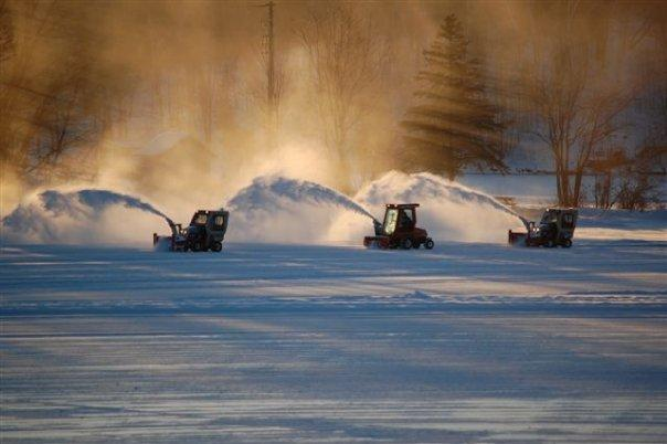 Ventrac tractors clear Deerhurst Resort Bay